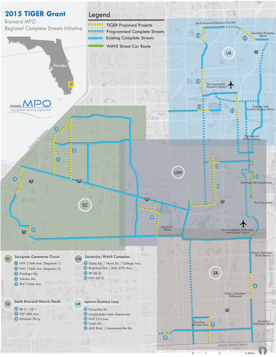 Broward Metropolitan Planning Organization MPO TIGER Grant - Florida map hallandale